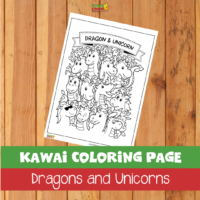 Kawai coloring page: Dragons and Unicorns