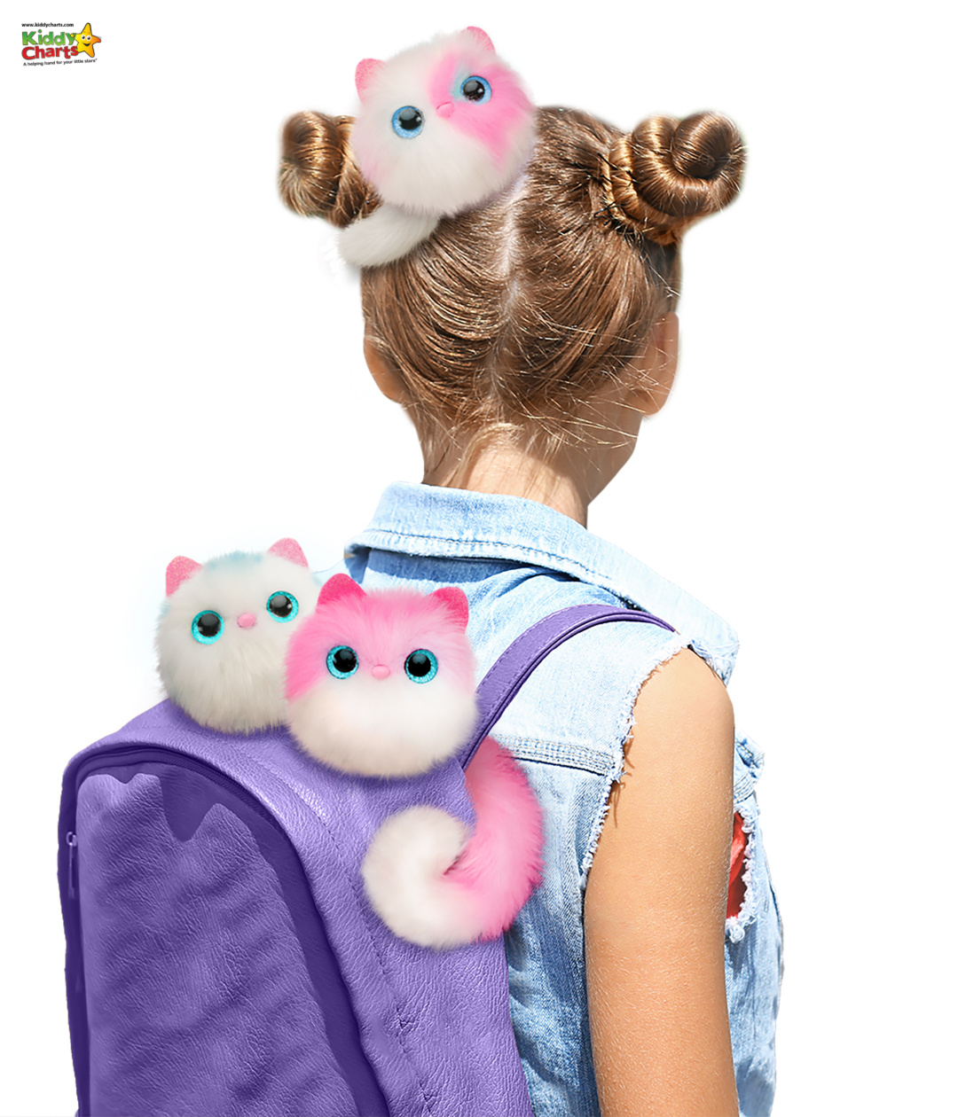 Girl with Pomsie Poos on her backpack and in her hair.