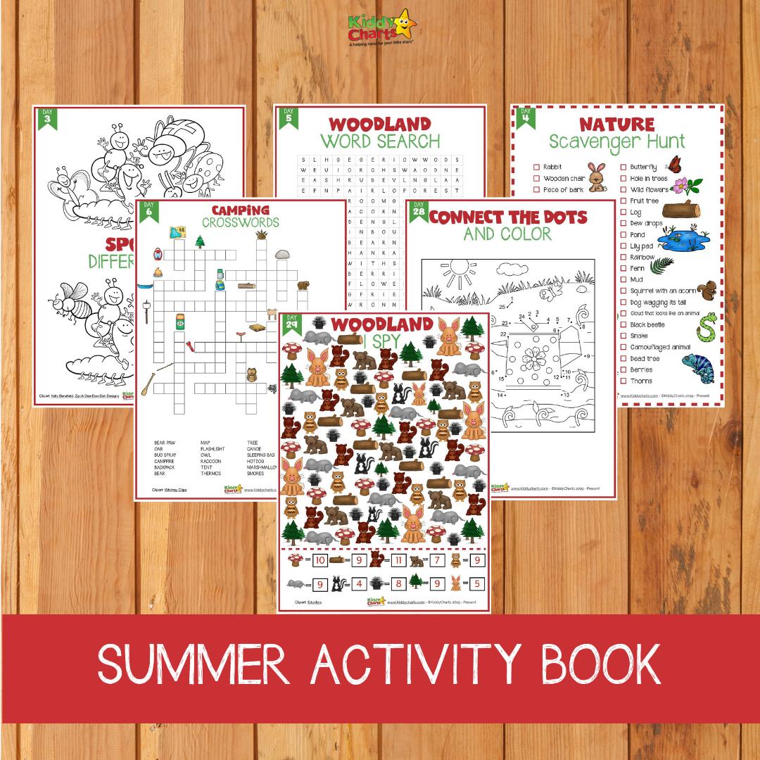 Pages from the summer activity book. #KiddyChartsSummer #Summer #KidsActivities