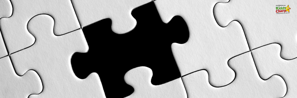 Jigsaw puzzle in black and white with a piece missing