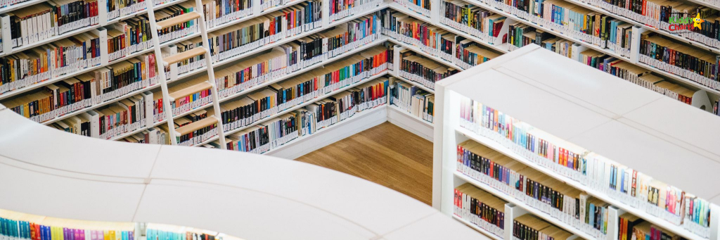 Organised library showing shelves of books