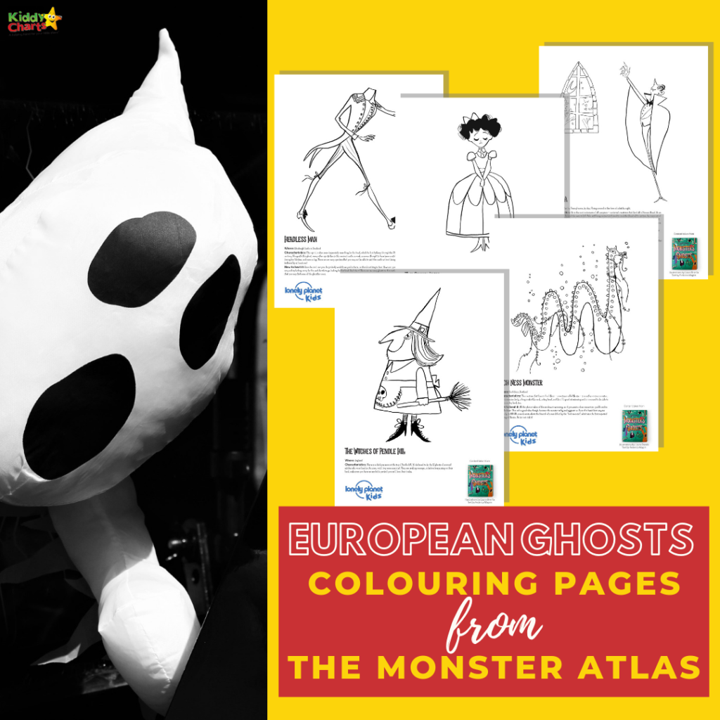 The Monster Atlas graphic with drawings: European Ghosts