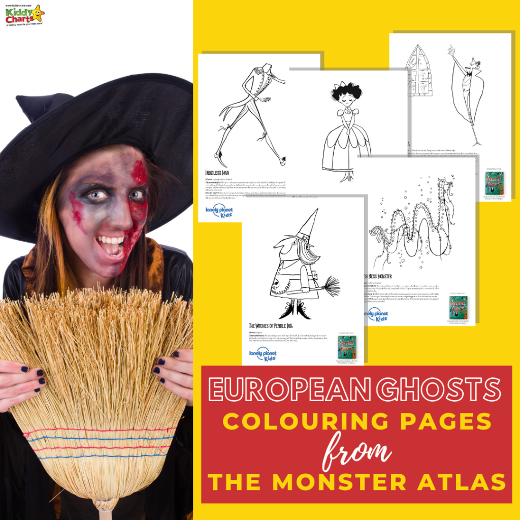 European ghosts colouring pages from Monster Atlas