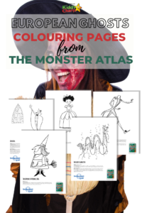 We've got a bit of fun for you today - some European Ghosts and other colouring pages of monsters from Europe. Nip over and download them today! #Halloween #Printables #ColoringPages
