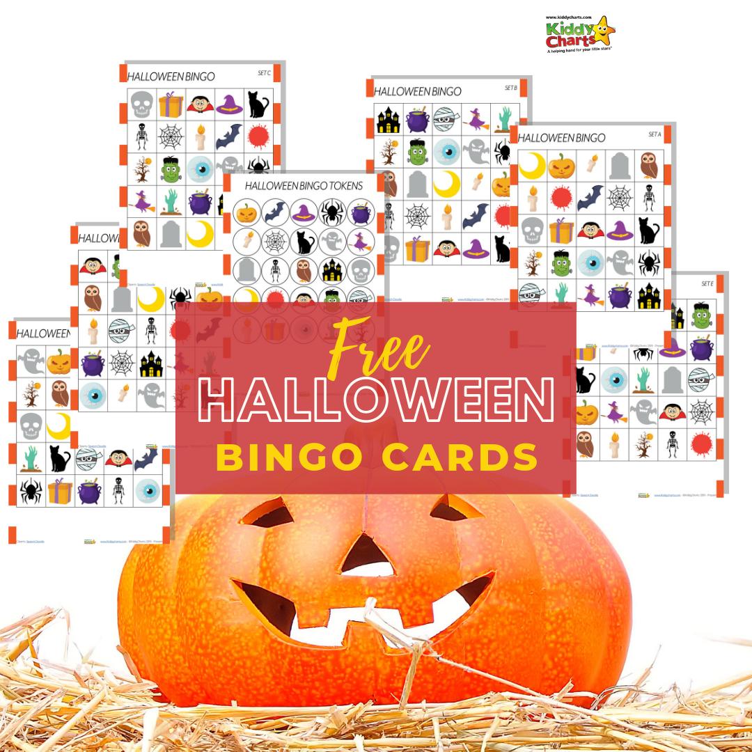 "Pumpkin on straw alongside text ""free Halloween Bingo Cards"""