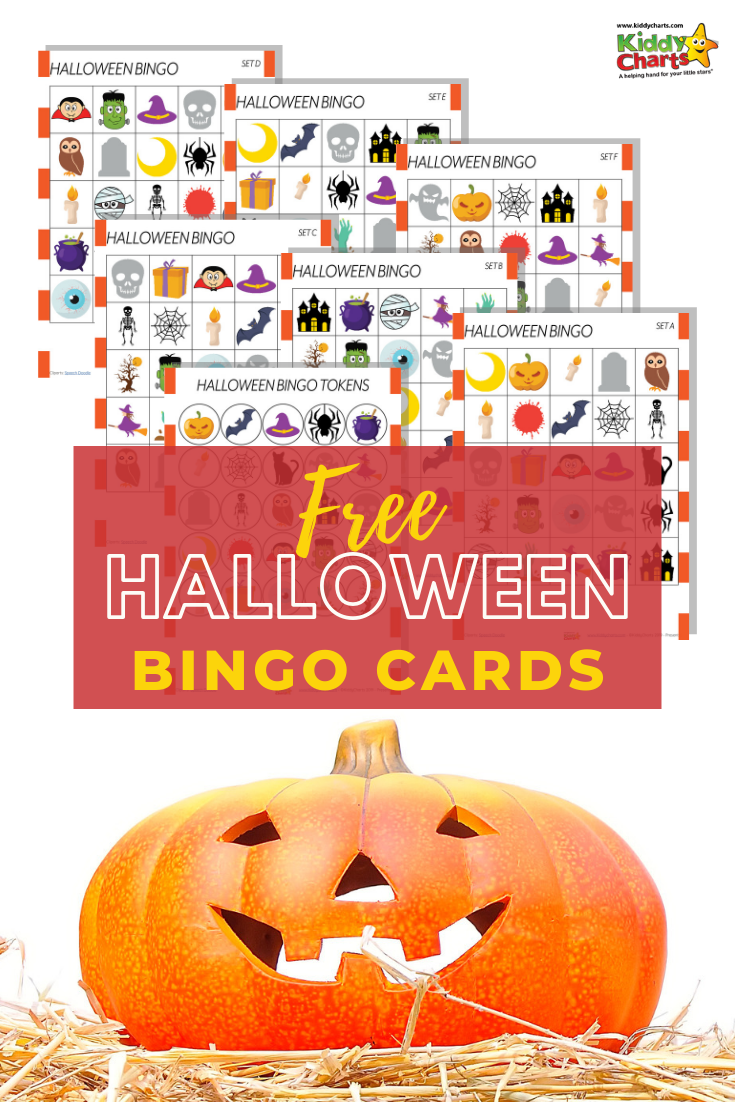 "Pumpkin on straw alongside text ""free Halloween Bingo Cards"""