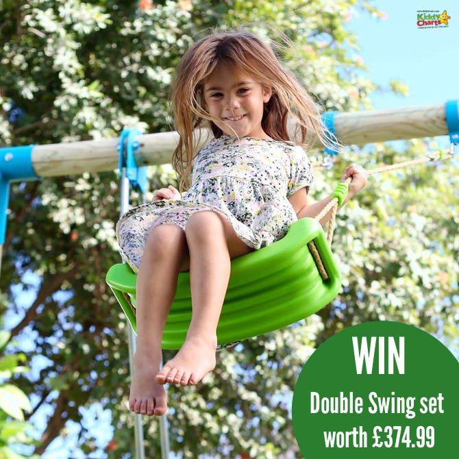 Young girl flying high on a swing with a green seat. Contains caption covering prize value.