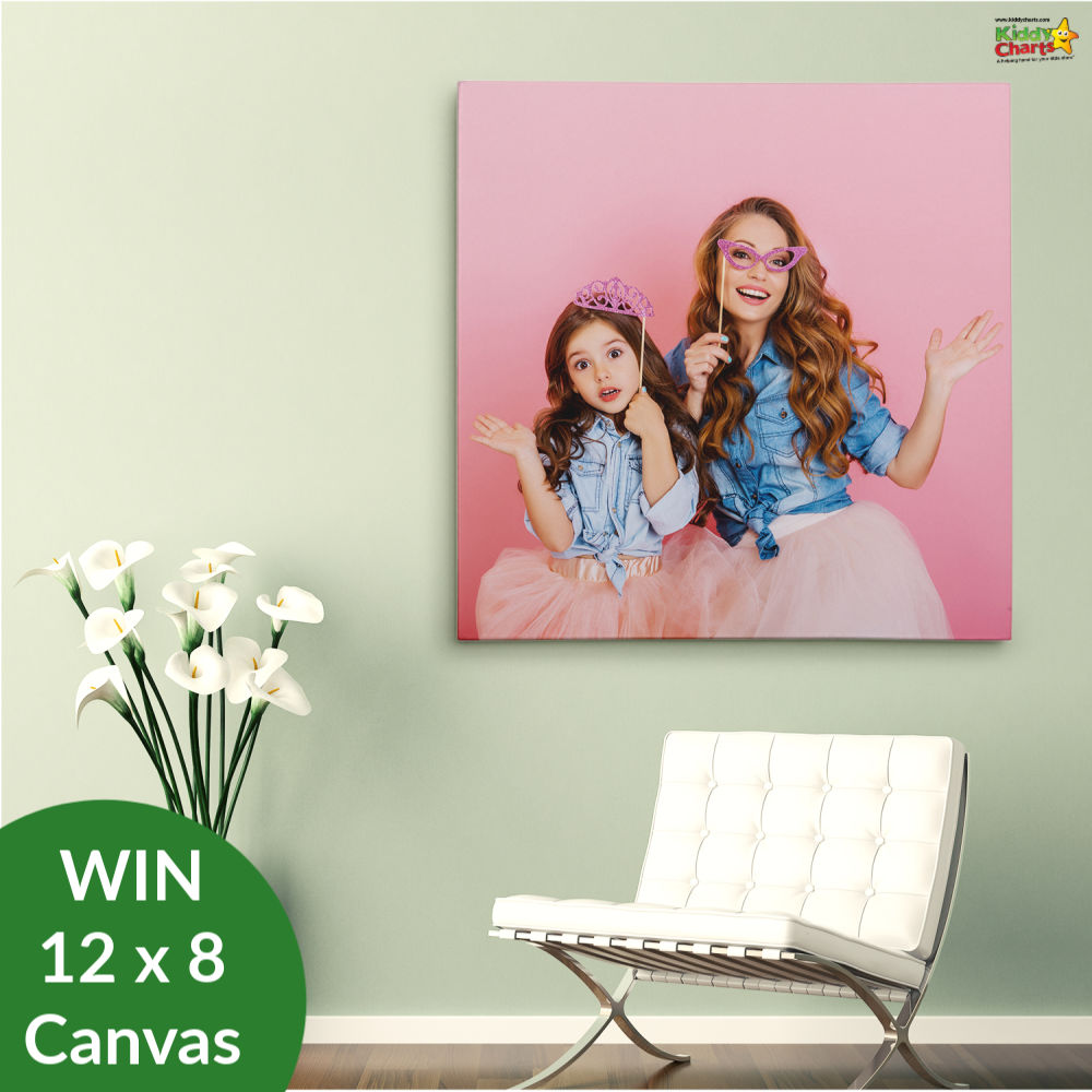 Canvas print on a wall in the hallway - with a sofa and flowers.