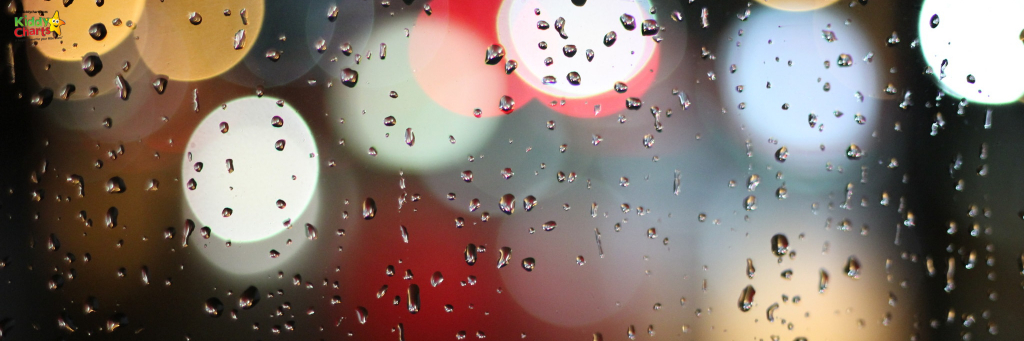 Rain on a window with reflected lights.