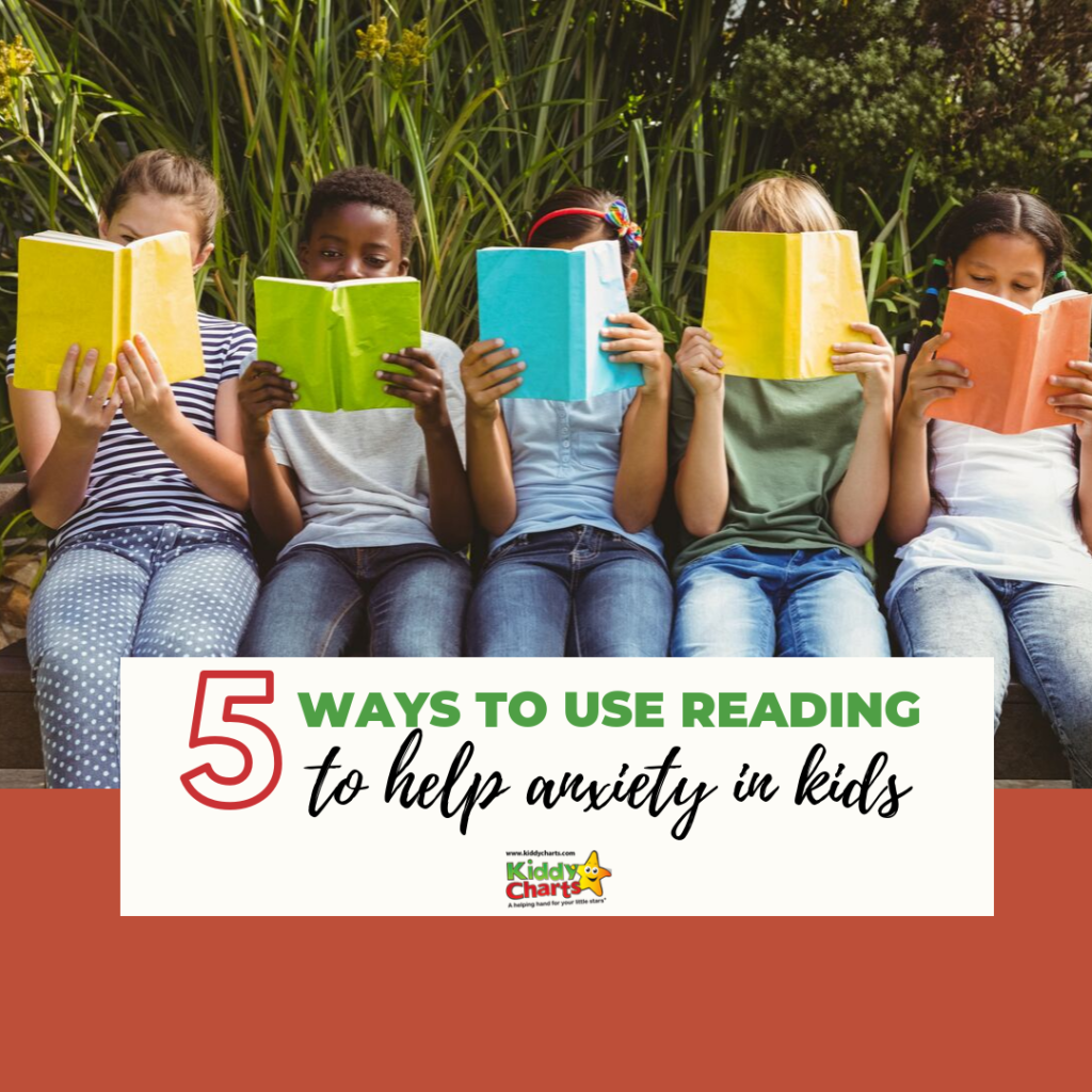 5 children sitting in a row reading 5 ways to use reading to help anxiety in kids