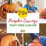 Here are more than SEVENTY-FIVE pumpkin carvings that the kids can have a bash at. Simple, not too scary and fun - what more do you need? #Halloween #PumpkinCarving #HalloweenDIY
