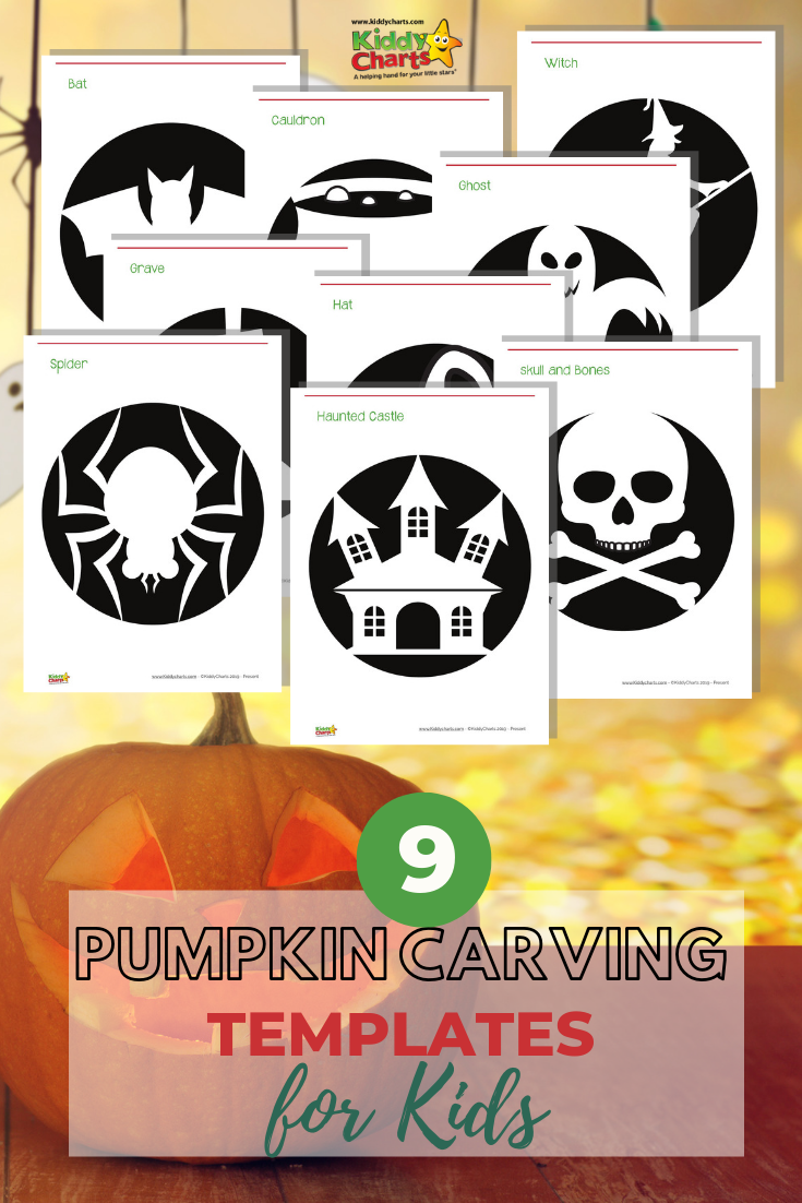 Pumpkin on a table. Includes images of all templates for pumpkin carving too.