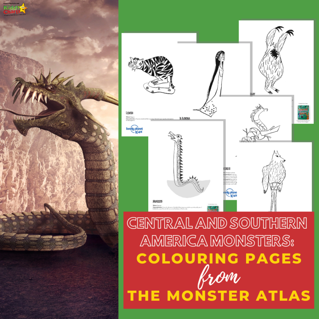 Central and South America monster colouring pages from Monster Atlas