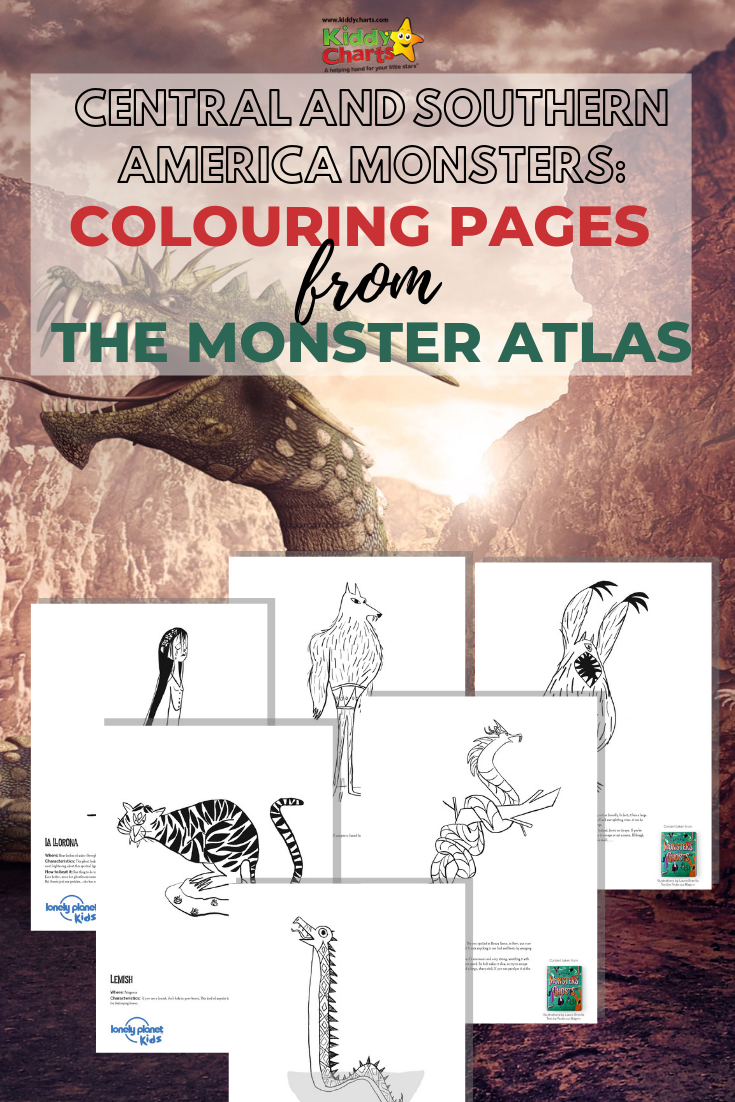 Monster near a cliff, and the images from the colouring pages: South American Monsters.