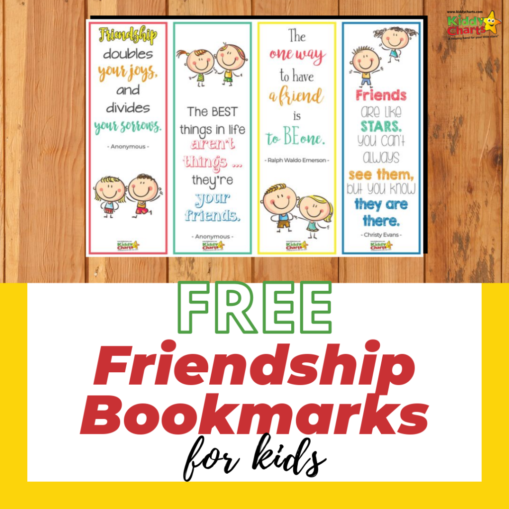 Free friendship bookmarks for kids and parents