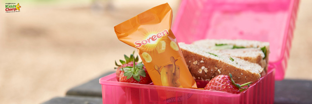 Pink lunch box with a Soreen malt loaf bar in it.