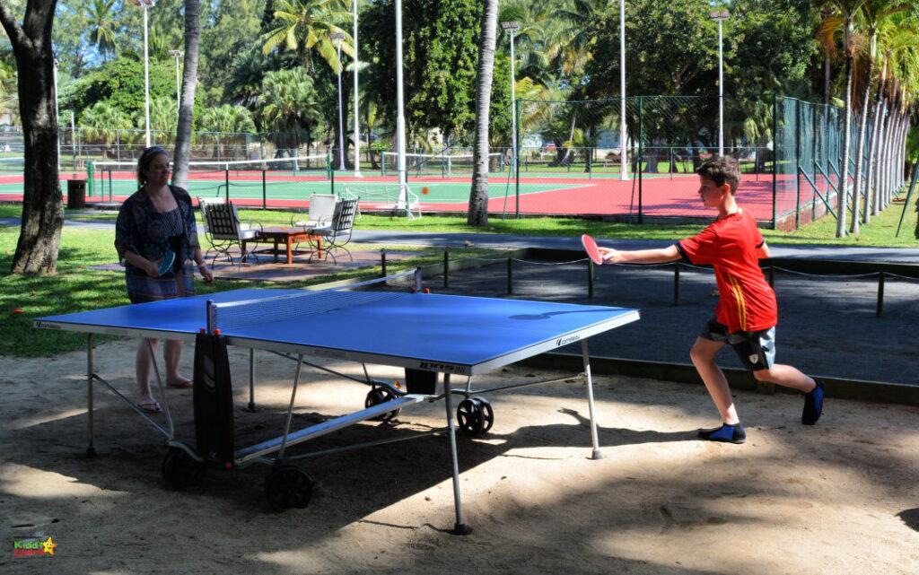 Shandrani resort review: playing table tennis.