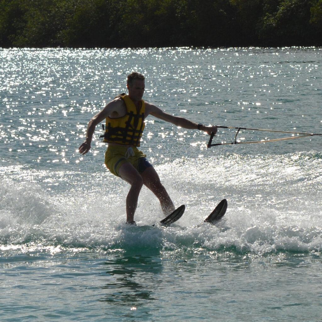 Shandrani resort review: my husband water-skiing!