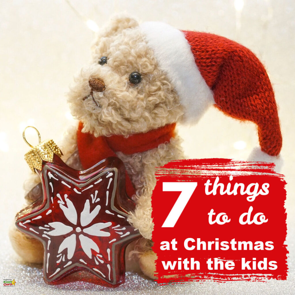 teddy bear holding a star ornament 7 things to do at Christmas with the kids