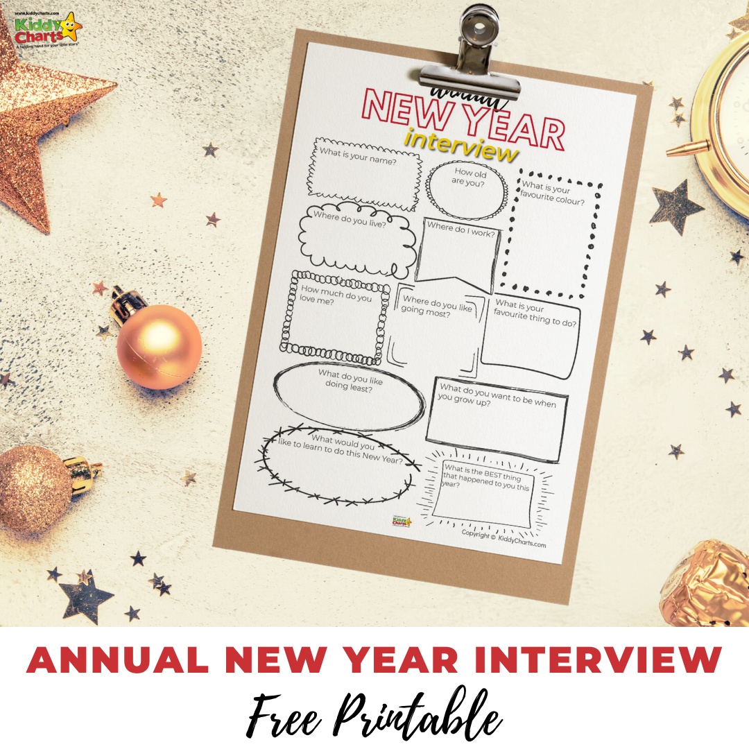 Check out our annual New Year interview - this adorable printable can be used annually to track your kids' thoughts and interests each year!