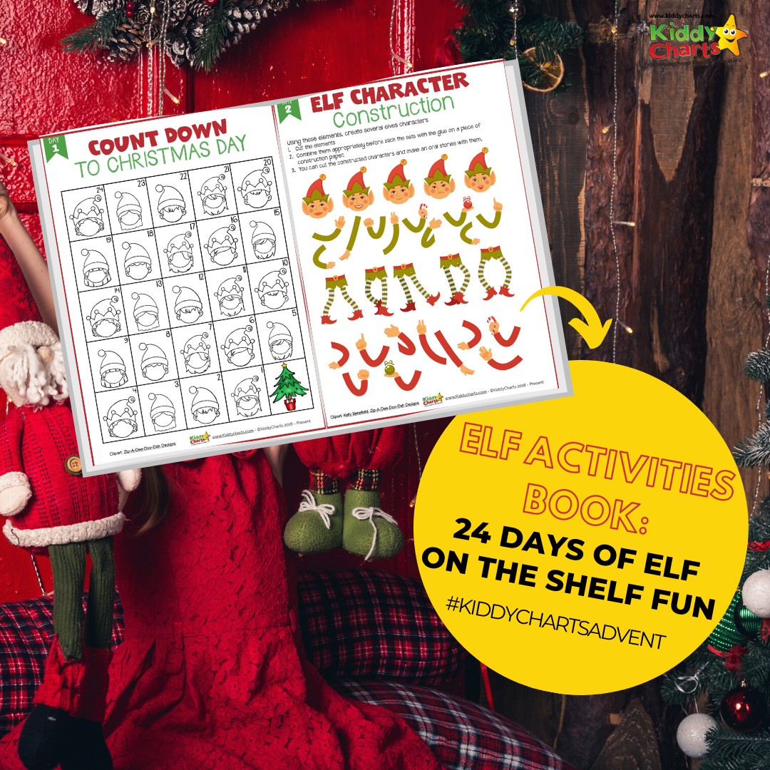 Check out our amazing KiddyCharts elf activity book for Christmas for the kids - 24 days of Elf on the Shelf fun!