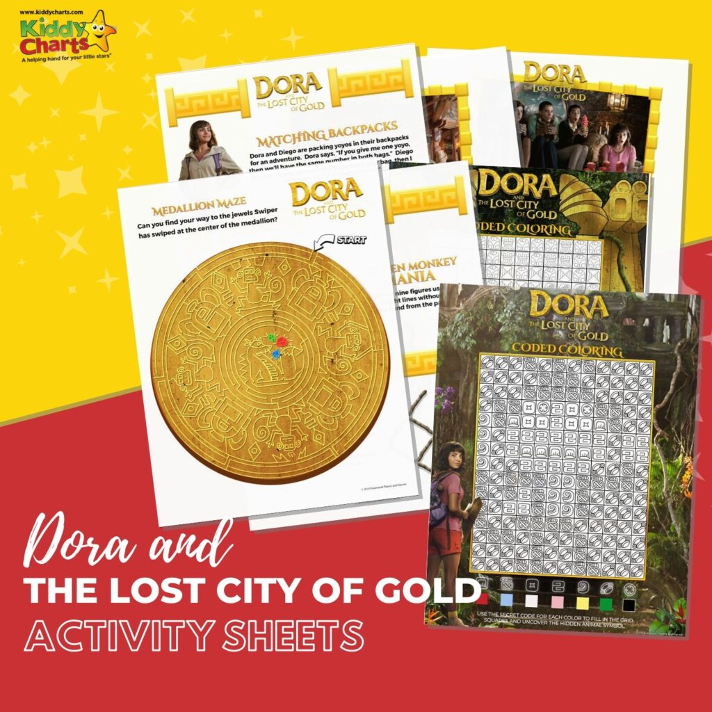Today we're featuring some fun Dora and the Lost City of Gold Activity sheets. These free downloadable activities will keep your whole family entertained!