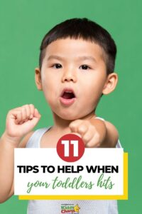 Toddler hitting: 11 tips to help you deal with a toddler that keeps hitting. #parentingtips #discipline #mumbloggers #mombloggers #toddlers #dealingwithtoddlers #toddlerswhohit #kiddycharts #toddleraggression