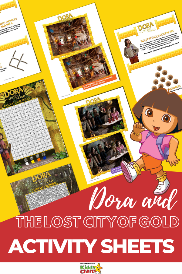Dora and the Lost City of Gold activity sheets