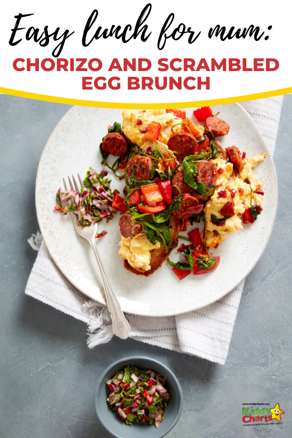 Breakfast for lunch is a brilliant idea. You'll enjoy this delicious chorizo and scrambled egg recipe for lunch or dinner. #Lunch #Recipe
