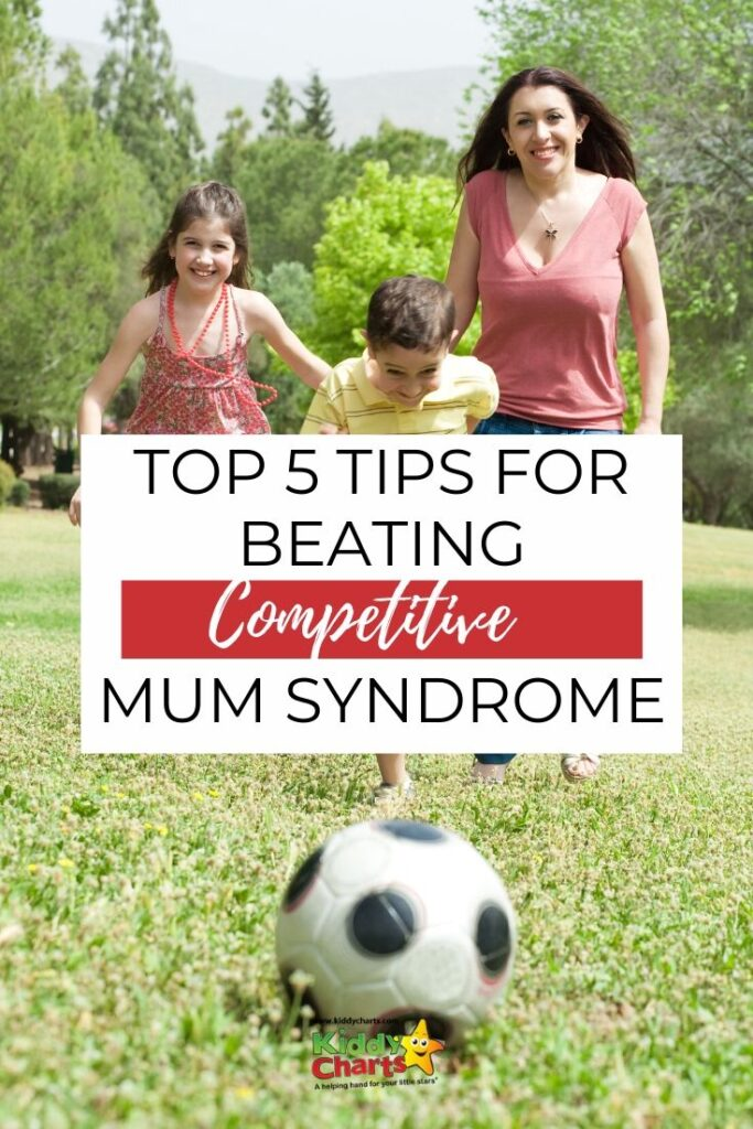 a mother with a son and a daughter playing soccer - 5 tips for beating competitive mum syndrome