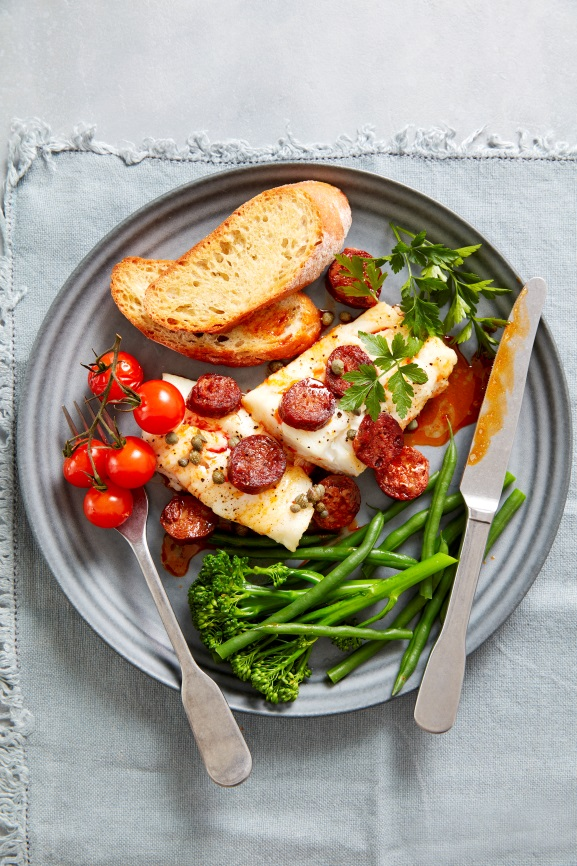 Hearty family meal: Spanish Chorizo and Roast Cod with Capers and Tomato