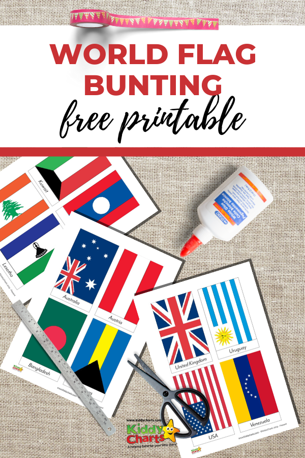 Free printable worlds flags bunting