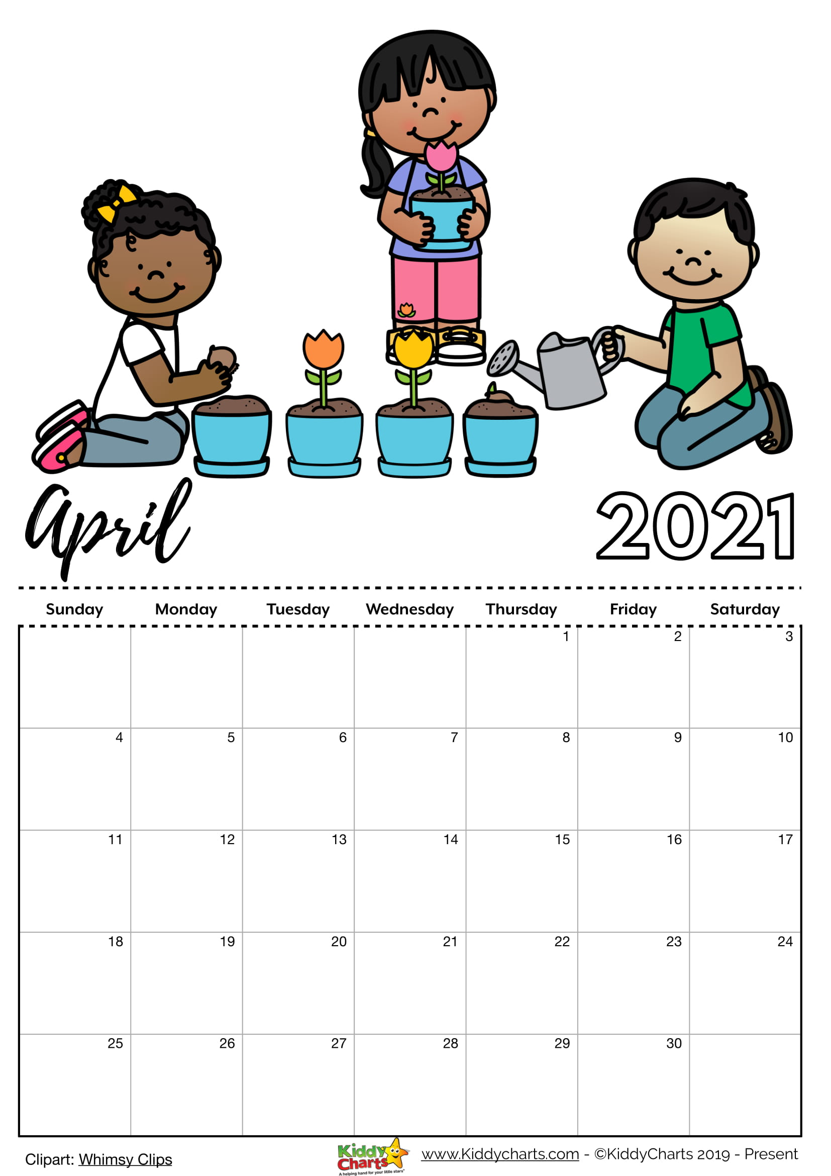 Printable Childrens Calendar 2021 Free printable 2021 calendar: includes editable version