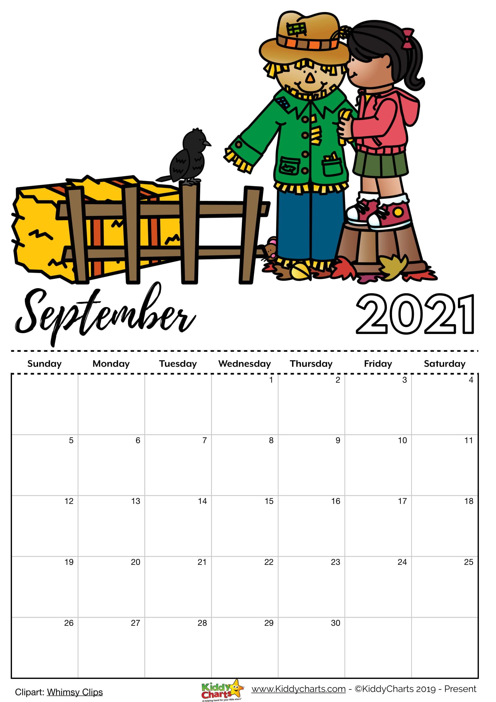 Kids Printable Calendar Forseptember 2021 | 2022 Calendar