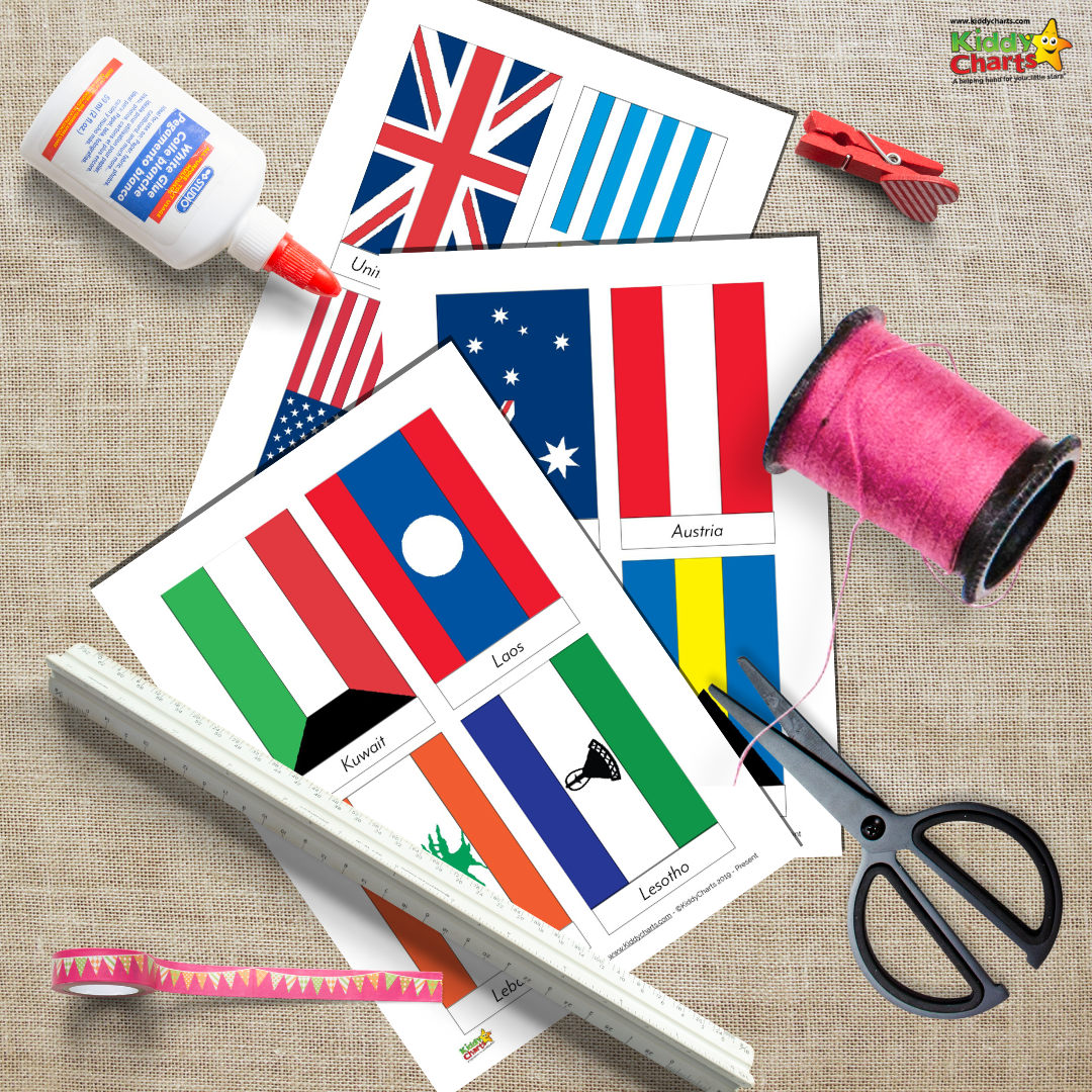 Free printable world flags bunting