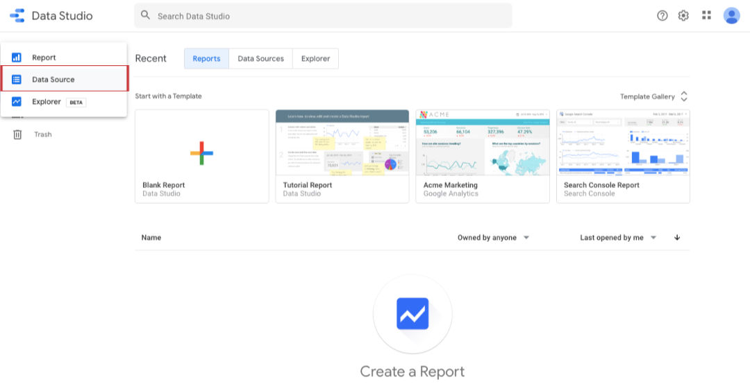 get started with data studio
