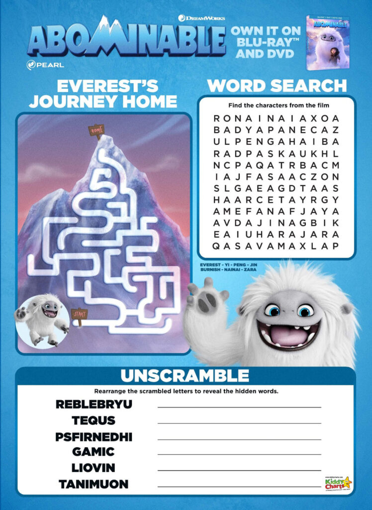 Get your kids even more excited for the release of the upcoming Abominable movie with these free Abominable activity sheets! #abominable #abominablethemovie #abominablefilm #abonimablemovie #funforkids #activitysheets #abominableactivitysheets #kiddycharts #freeprintables
