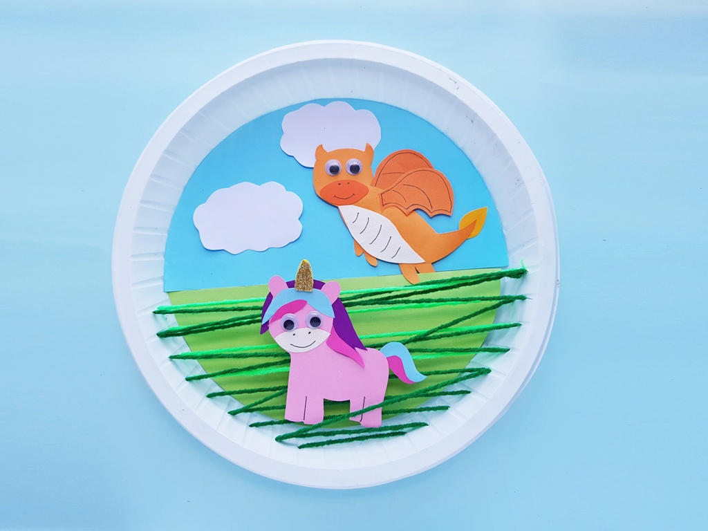 completed unicorn and dragon paper plate craft