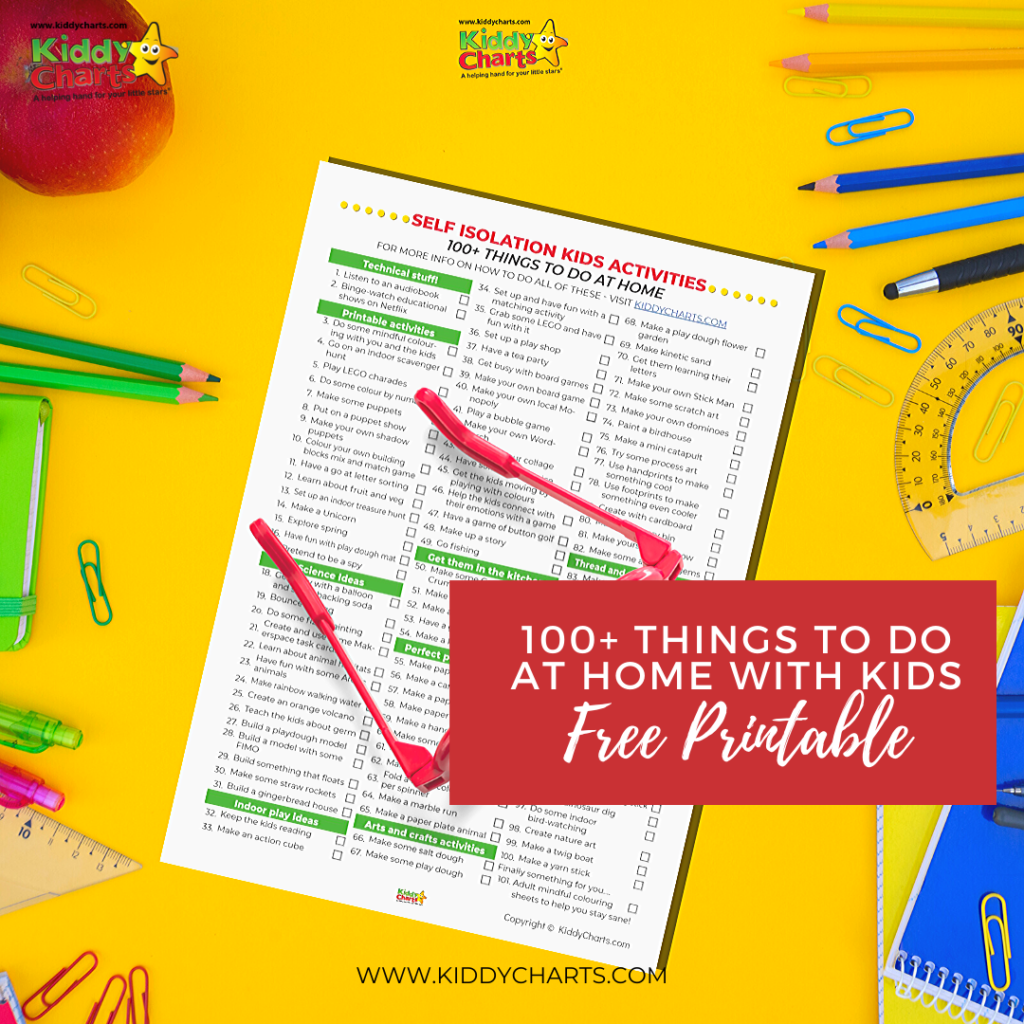 100 ideas for things to do at home with the kids! Check out the FREE printable! Self isolation kids activities.