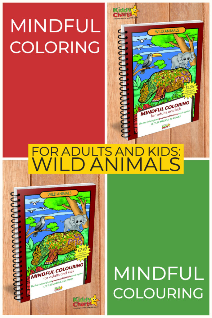 Mindful colouring for adults and kids: wild animals book self isolation kids activities