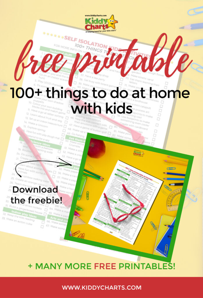 100 ideas for things to do at home with the kids! Check out the FREE printable!