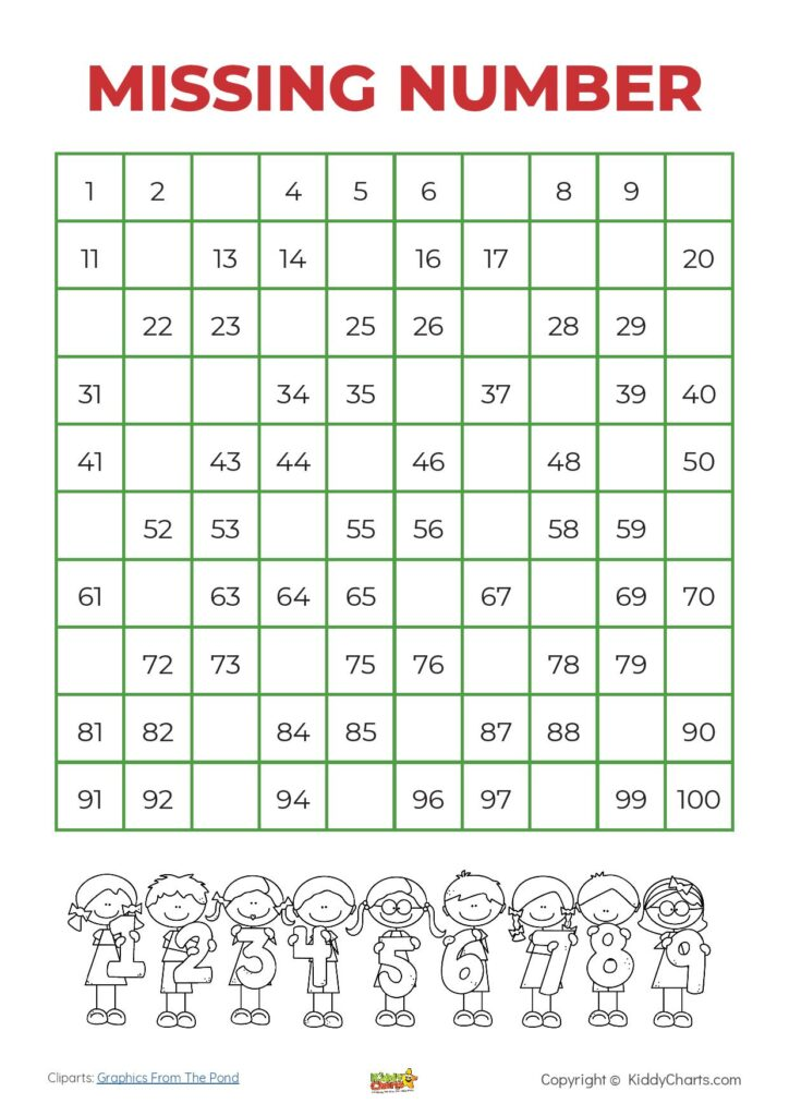 100 square missing number free printable