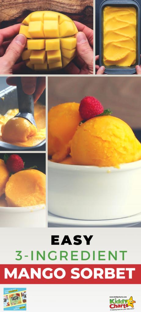 Simple 3 ingredinet mango sorbet recipe from Tasty cookbook