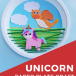 Unicorn paper plate craft; includes a dragon too!