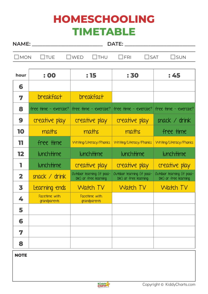 free homeschooling timetable