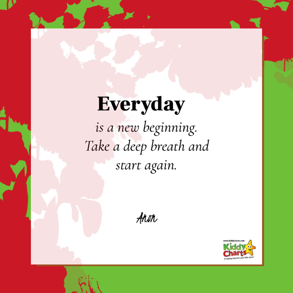 Everyday is a new beginning. Take a deep breath and start again.