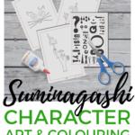 Suminagashi character art and colouring free printable game