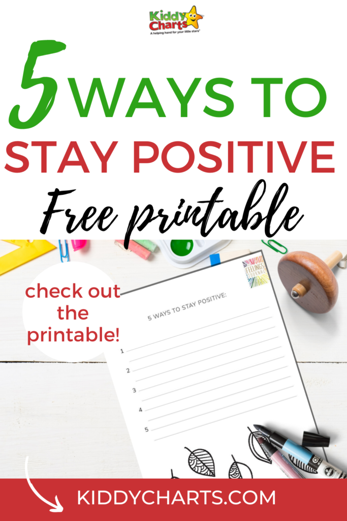 5 ways to stay positive free printable for kids