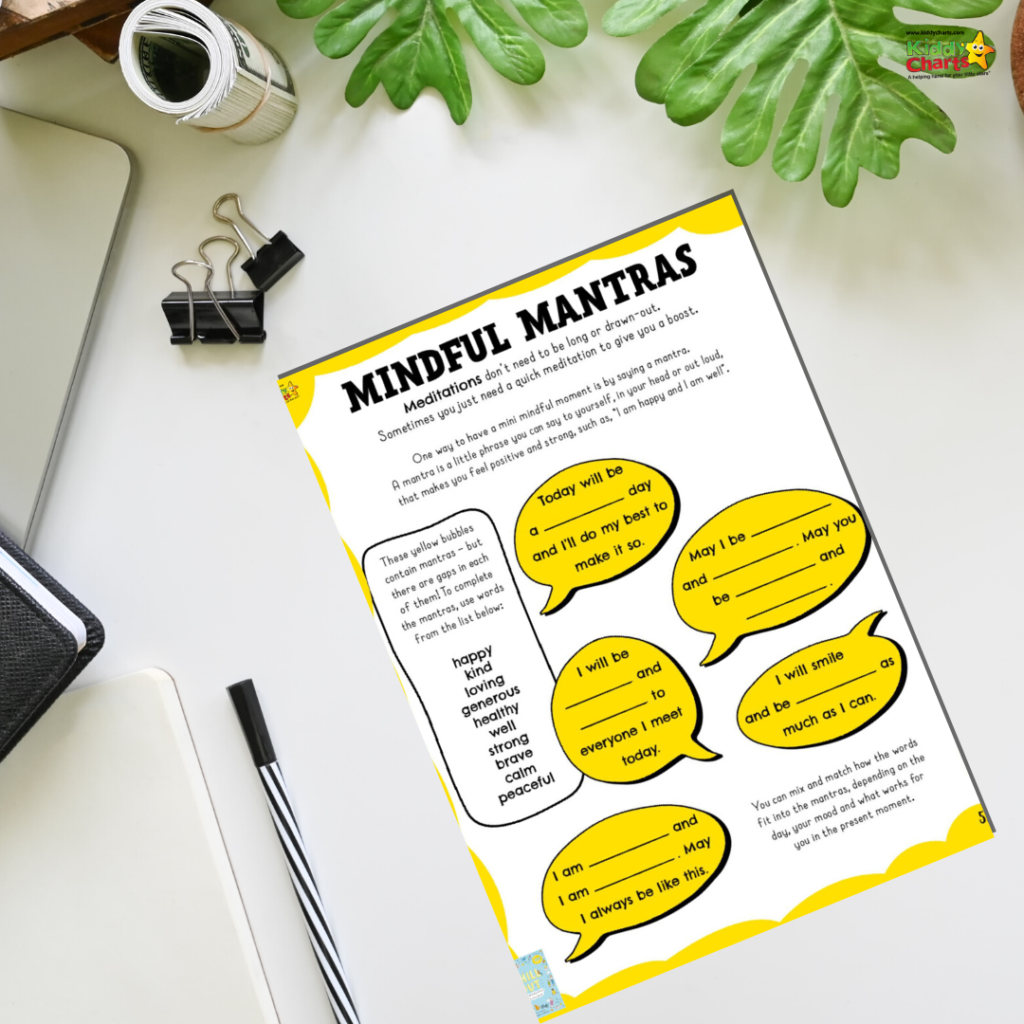 Mindful mantras for kids free printables