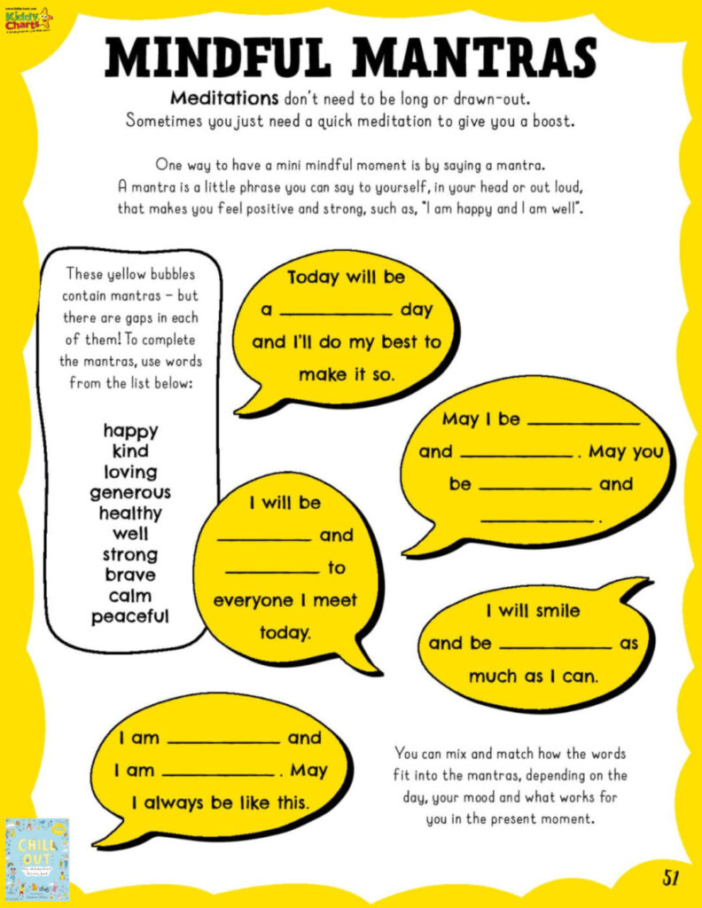 Mindful mantras for kids free printables